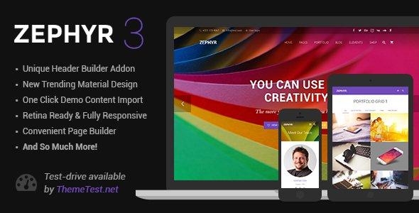 دانلود قالب وردپرس زفایر Zephyr v3.4.1 Material Design Theme