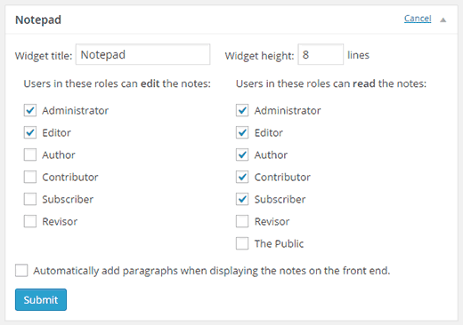 notepad-widget-settings