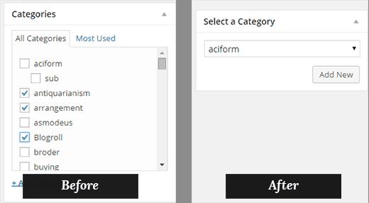 انتخاب تنها یک دسته برای مطالب در وردپرس