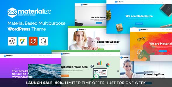 قالب وردپرس چندمنظوره متریال Materialize – Material Design Multipurpose WordPress Theme